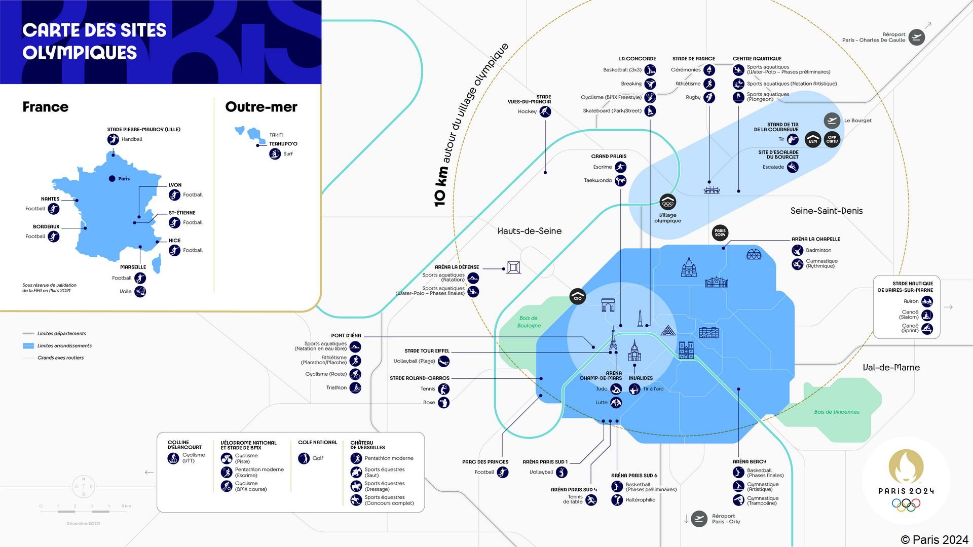 Paris 2024 – Carte des sites olympiques (décembre 2020)