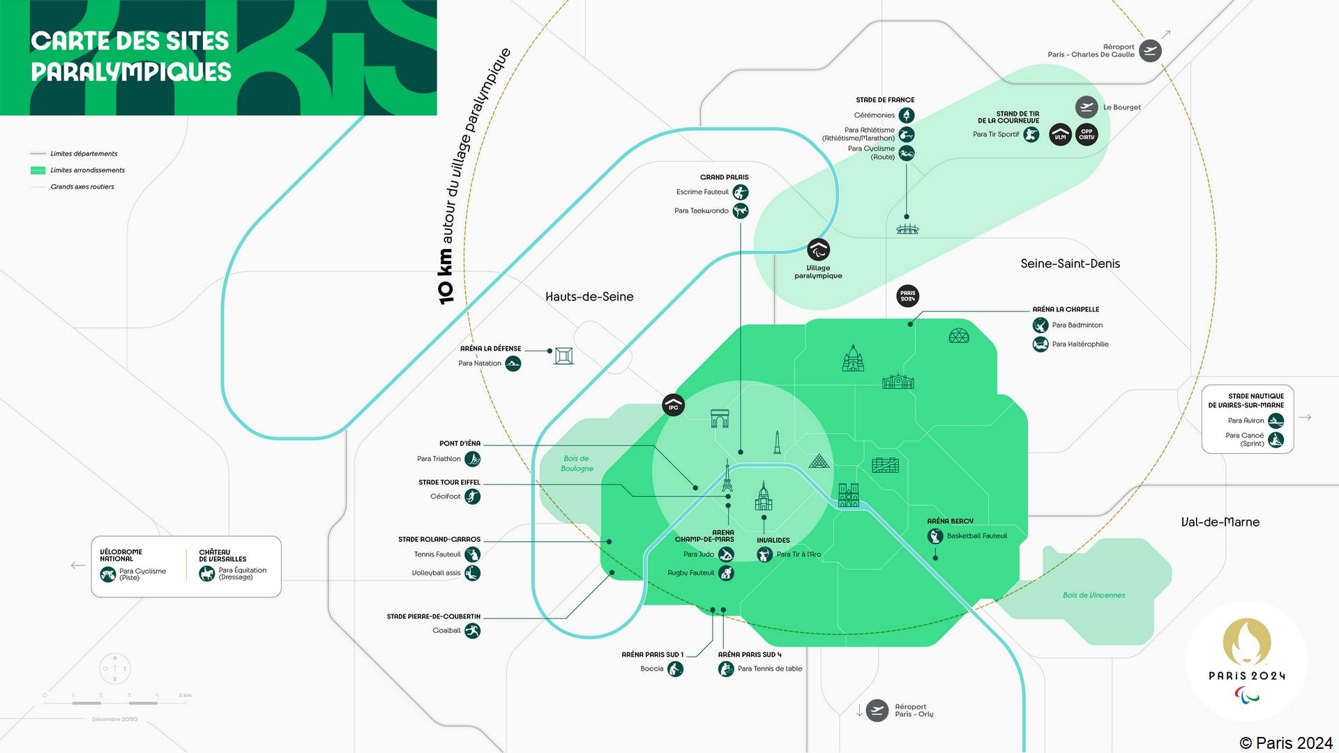 Paris 2024 – Carte des sites paralympiques (décembre 2020)